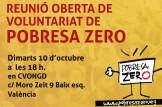 CONVOCATÒRIA REUNIÓ OBERTA DE VOLUNTARIAT POBRESA ZERO VALÈNCIA