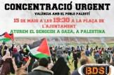 CONCENTRACIÓN URGENTE en Valencia contra la violencia y en apoyo del pueblo palestino