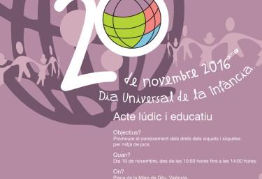 20 de noviembre, Dia Universal de la Infància. Acte lúdic i educatiu