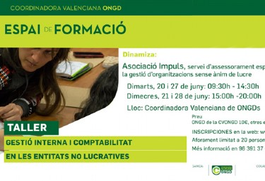 FORMACIÓ CVONGD: Gestió Interna i Comptabilitat en les entitats no lucratives