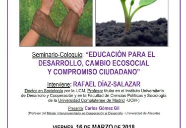 Seminario coloquio: EDUCACIÓN PARA EL DESARROLLO, CAMBIO ECOSOCIAL Y COMPROMISO CIUDADANO