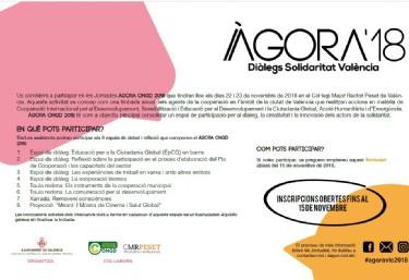 Jornades ÀGORA ONGD 2018 Trobada anual de tots els agents de la cooperació internacional en el àmbit de la ciutat de València