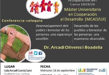 Arcadi Oliveres en la Inauguració del Master Universitari de Cooperació MCAD/UJI