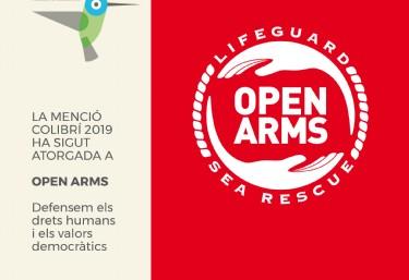 Acte de lliurament 5ª Menció Colibrí 2019 a l'ONG Open Arms