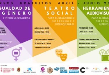 Cursos gratuitos de  - Igualdad de género  - Teatro Social  - Herramientas Audiovisuales