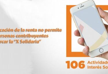 """La nueva aplicación de la renta no permite a las personas contribuyentes marcar la """"X Solidaria"""""""