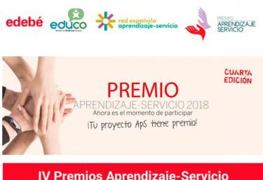 Abierta una nueva edición de los Premios Aprendizaje-Servicio 2018