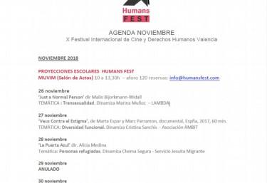 AGENDA Proyecciones escolares en Noviembre del X Festival Internacional de Cine y Derechos Humanos