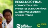 Caixa Popular: RESULTAT FINAL de la CONVOCATÒRIA 2019 AJUDES a PROJECTES d