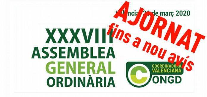 S´ajorna la convocatòria de la XXXVIII Assemblea General Ordinària de la CVONGD