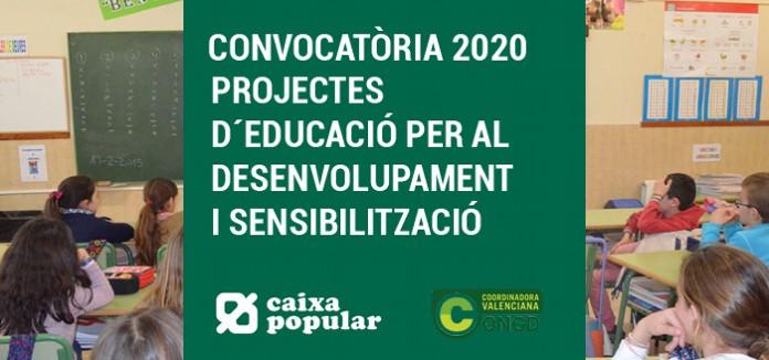 CAIXA POPULAR: CONVOCATÒRIA 2020 de SUBVENCIONS per a la realització de PROJECTES d'EDUCACIÓ PER AL DESENVOLUPAMENT i SENSIBILITZACIÓ