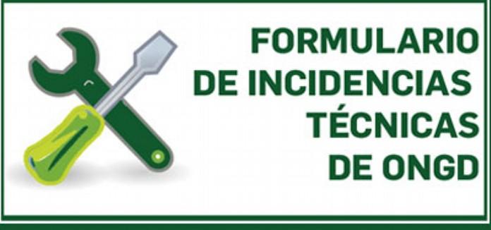 Formulario de incidencias técnicas de ONGD