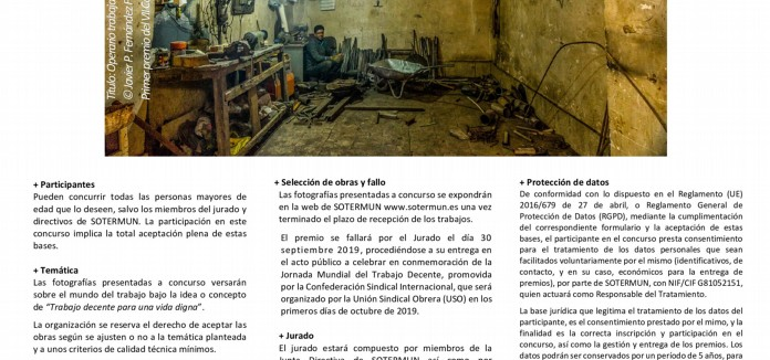 BASES del 8° Concurso de fotografía de SOTERMUN 'TRABAJO DECENTE PARA UNA VIDA DIGNA'