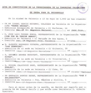 Acta de constitución de la Coordinadora