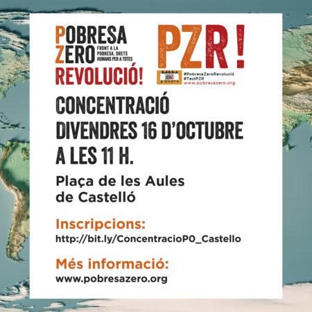 Concentració Pobresa Zero Castelló 16 d´octubre