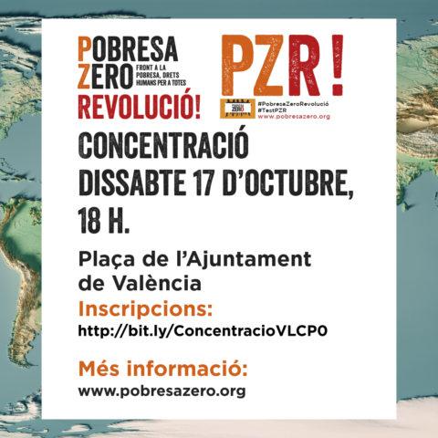 Concentració Pobresa Zero en València el 17 d´octubre