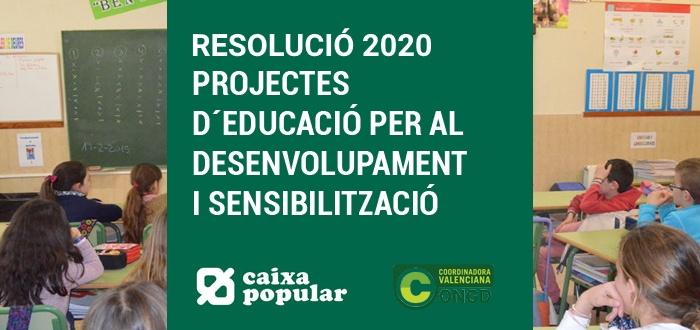Imagen dela resolución de proyectos de la convocatoria de aixa Popular
