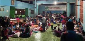 Población en un refugio temporal de Cáritas Nicaragua.