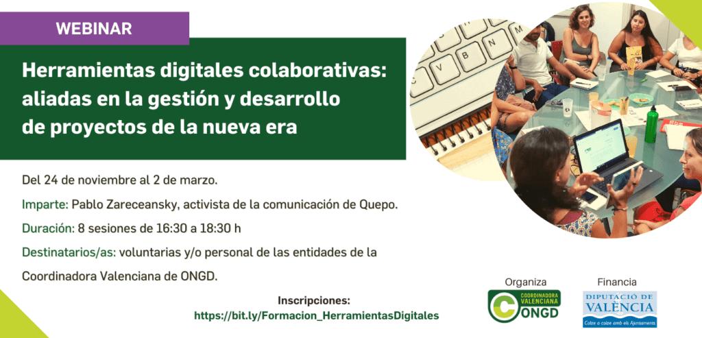 Cartel de la formación herramientas digitales colaborativas