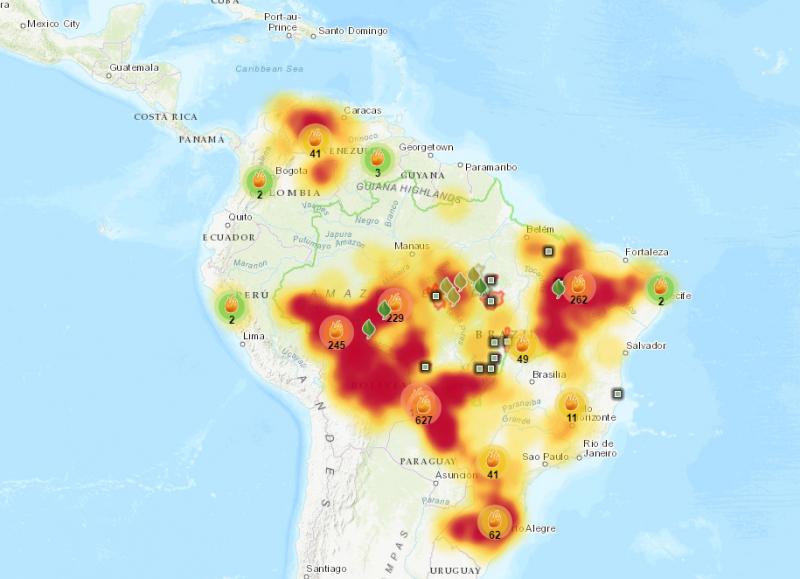 Focos de fuego activos en la Amazonía. Fuente: ISA